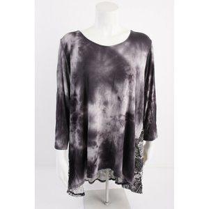 Ava James Womens Blouse Shirt Tunic Hi Low XL